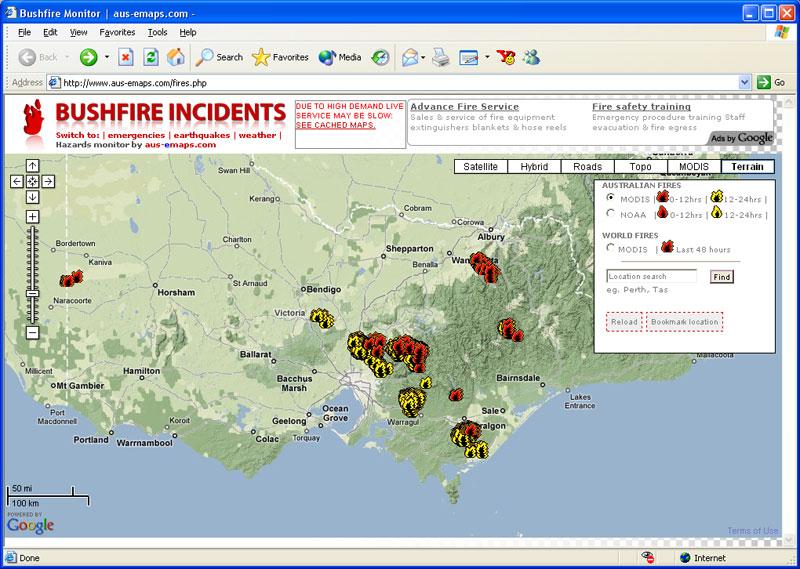 Map of Australia Bushfires