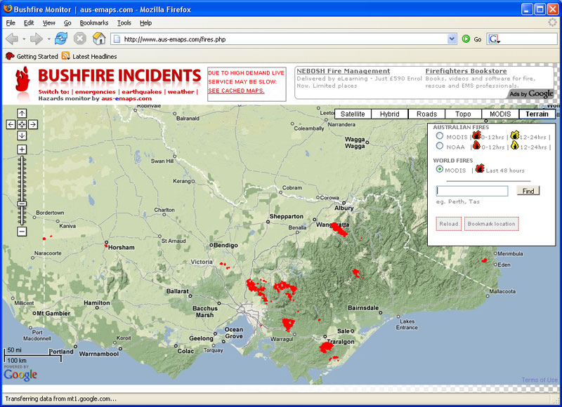 location of major bushfires in victoria 7 8th february